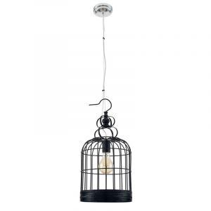 """Lampe Suspension Vintage """"Cage"""" 25cm Noir Prix"""