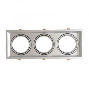 Silamp Support Triple Orientable INOX Encastrable pour Ampoules LED AR111 - Argent