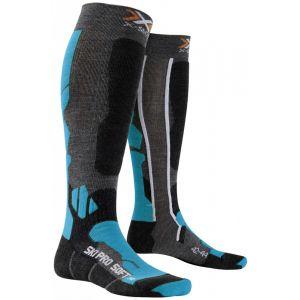 X-Socks Chaussettes de Ski Respirantes Soft Pro Multicolore Anthracite/Azure 45/47