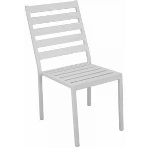 Hévéa Chaise à manger angussa g2 en aluminium blanc coussins couleur alba ecru - Lot de 2