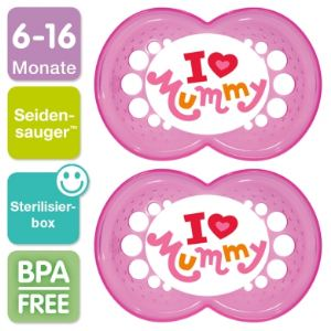 Mam 2 sucettes Original I love Mummy en silicone (6 mois +)