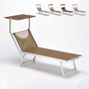 Beach and Garden Design Bain de soleil transat piscine lit de plage aluminium SANTORINI Limited Edition | Moka - Marron Santorini