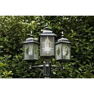 Konstsmide Lampadaire 3 lanternes MILANO en noir et argenté