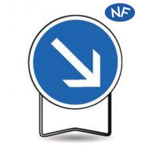 Taliaplast 524416 - Panneau signalisation prescription b21a1 obligation à droite t1 650mm