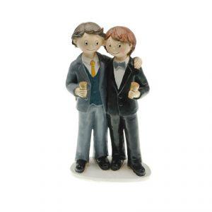 Chaks 80185 - Figurine en résine Couple de mariés Gay épaule contre épaule Garçons (18 cm)