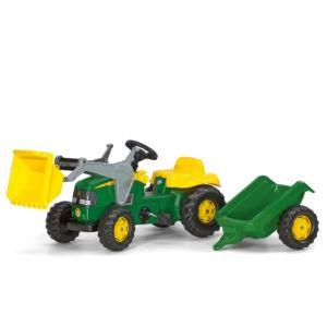 Rolly Toys Tracteur à pédales + pelleteuse + remorque John Deere