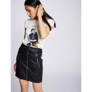 Morgan Mini-jupe en PU à fermeture éclair - Noir