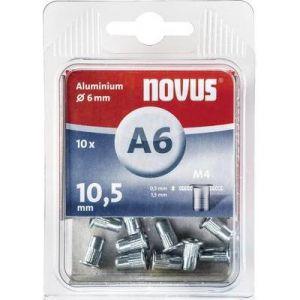 Novus 045-0043 - 10 écrous à rivets en aluminium 6 X 15 mm