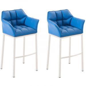 CLP Lot 2 tabourets de bar Damaso 4 pieds similicuir, bleu bleu, hauteur de l assise