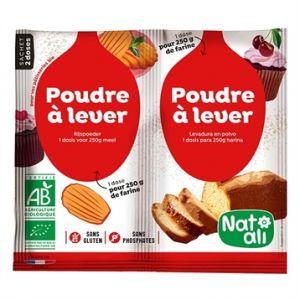Nat-Ali Nat ali Poudre à lever sans gluten et sans phosphate bio (alternative à la levure) - les 20 sachets de 7g pour 250g de farine
