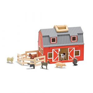 Melissa & Doug Wooden Fold & Go Barn Animal & People Play Set (7 Animal Play Figures 1125 H X 135 W X 47 L Great Gift For Girls And Boys - Best For 3 4 5 And 6 Year Olds)