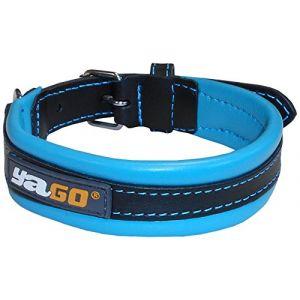 YAGO Collier en cuir - Taille M 34-43 cm - Noir et bleu - Pour moyen chien