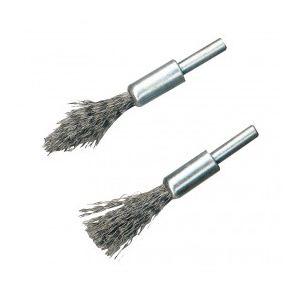 Silverline 190316 - 2 brosses-pinceaux à décalaminer Queue de 6 mm