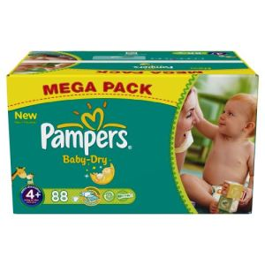Pampers Baby Dry taille 4+ Maxi+ (9-20 kg) - Mega pack x 88 couches