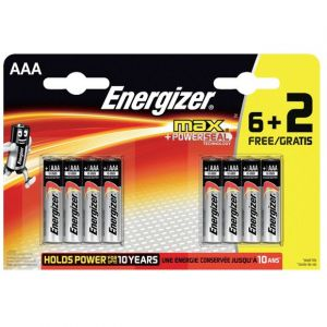 Energizer Piles LR03/AAA Max+Powerseal - 6 + 2 gratuites