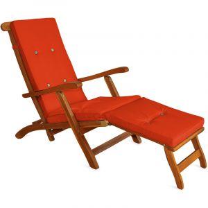 Deuba Detex Coussin pour chaise longue 173 cm - Matelas Transat Bain de soleil Jardin ORANGE