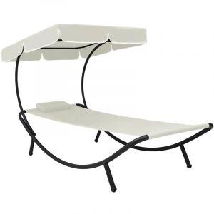 VidaXL Chaise longue de jardin avec auvent et oreiller Blanc crème