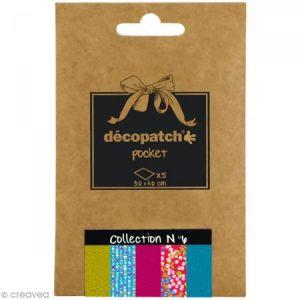 decopatch DP006O - Déco Pocket n°6 : 5 feuilles 30x40 cm, motifs 655, 410, 653, 383, 651