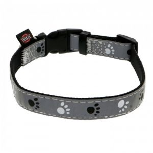 Trixie Silver reflect collier - XS-S: 22-35 cm/15 mm, noir/gris argent