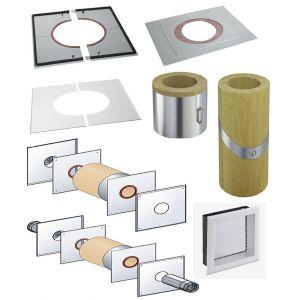 Poujoulat Accessoires règlementation thermique RT 2012 - PGI pour poêles à Pellets - Plaque distance sécurité étanche (plafond)