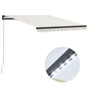 VidaXL Auvent manuel rétractable avec LED 300x250 cm Crème