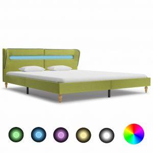 VidaXL Cadre de lit avec LED Vert Tissu 150x200 cm