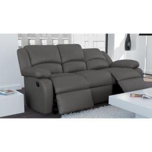 Canapé relax 3 places en cuir