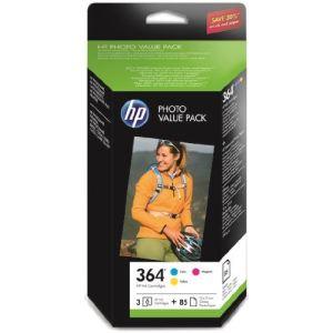 HP CH082EE - Photo Value Pack de 3 cartouches d'encre n°364 couleurs avec papier 10 x 15 (85 feuilles)