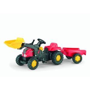 Rolly Toys Tracteur à pédales Rolly Kid avec chargeur et remorque