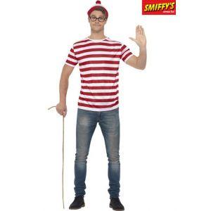 Smiffy's Licenciado oficialmente Kit Où est Charlie ?, Rouge et blanc, avec t-shirt, casquette et lunettes