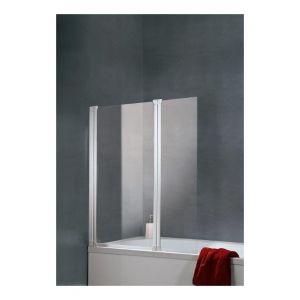 Schulte-ufer Pare-baignoire Komfort paroi de baignoire 114 x 130 cm écran de baignoire 2 volets verre transparent Schulte profilé blanc