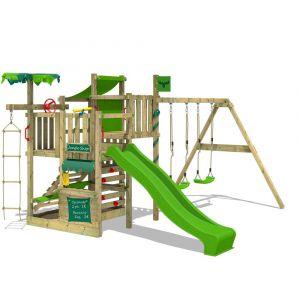 Fatmoose Aire de jeux bois CrazyCoconut avec SuperSwing et toboggan vert