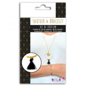 Toga Kit Bijoux Or - 1 chaîne dorée + 1 mini anneau - 1 gros anneau doré + des mini perles - 2 breloques argentées + 1 pompon noir