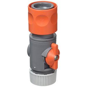 """Gardena Connecteur de tuyau avec vanne de régulation 13 mm 1/2"""", Gris/Orange, 30 x 20 x 20 cm"""