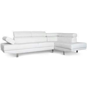 Canapé d'angle avec têtières relevables Simili Blanc Olda