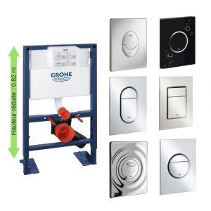Grohe Bati support wc hauteur réduite avec plaque de commande, plaque commande Skate Air, vertical, chrome