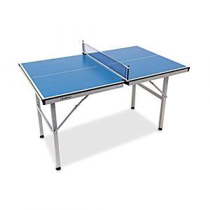 Relaxdays Table de tennis ping-pong Usage intérieur transportable 125 x 75 x 75 cm sport, bleu