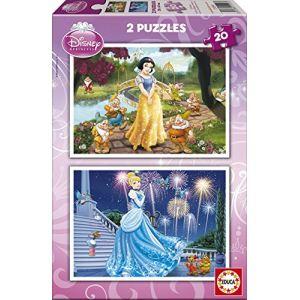 Educa Coffret 2 puzzles : Princesses Disney - Blanche-Neige et Cendrillon 20 pièces