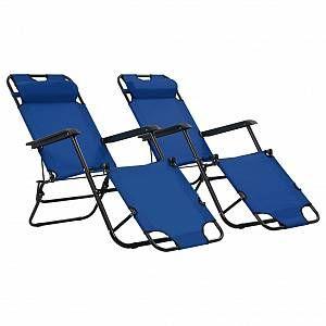 VidaXL Chaises longues pliables 2 pcs avec repose-pied Bleu
