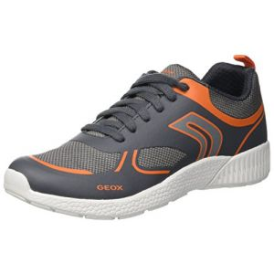 Geox J Sveth E, Sneakers Basses garçon, Gris (Grey/Orange C0036), 34 EU