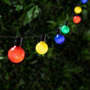 Lights4Fun Guirlande Lumineuse Guinguette Solaire avec 16 Boules LED Multicolores 2,8m par