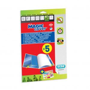 Elba 400008903 - Couvre-livres Magic Cover, en PVC 9/100e - lot de 5 feuilles incolores
