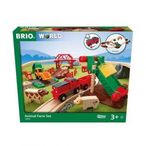 Brio 33984 Le circuit de la ferme et locomotive a pile Multicolore