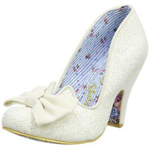 Irregular Choice Nick of Time, Escarpins Femme - Blanc Cassé - Off White (Cream Glitter), 40 EU