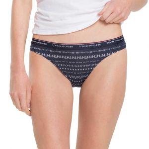 Tommy Hilfiger 3p Bikini Print, Boxer Femme, Rose Fairisle/Chili Pepper/Navy 474, 38