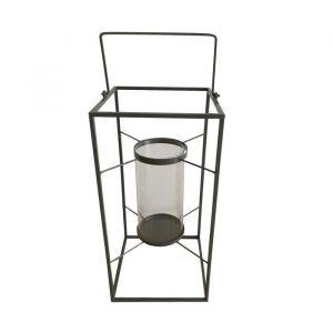 Homea Lanterne en métal 18x18xH36 cm gris