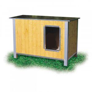 Difac Niche en bois isolée avec toit plat pour chien Mini - 92 x 68 x 60 cm