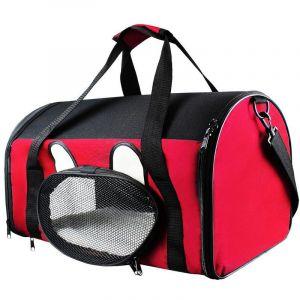 Todeco Sac de Transport pour Animaux, Sac pour Chats et Chiens, 50 x 31 x 29 cm, Rouge, Matériau: Mesh material, Polyester