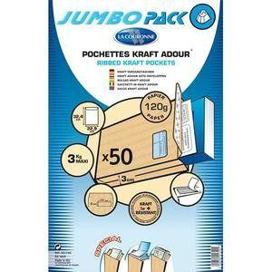 La couronne Paquet de 50 pochettes kraft adour auto-adhésive 120g 3 soufflets 229x324mm C4 fenêtre 50x110