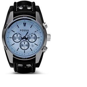 Fossil Bracelet de montre CH-2564 / CH-2586 / JR-1472 Cuir Noir 22mm (SEULEMENT LE BRACELET DE MONTRE - MONTRE NON INCLUE!)